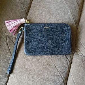 Fossil black and pale pink small leather wristlet